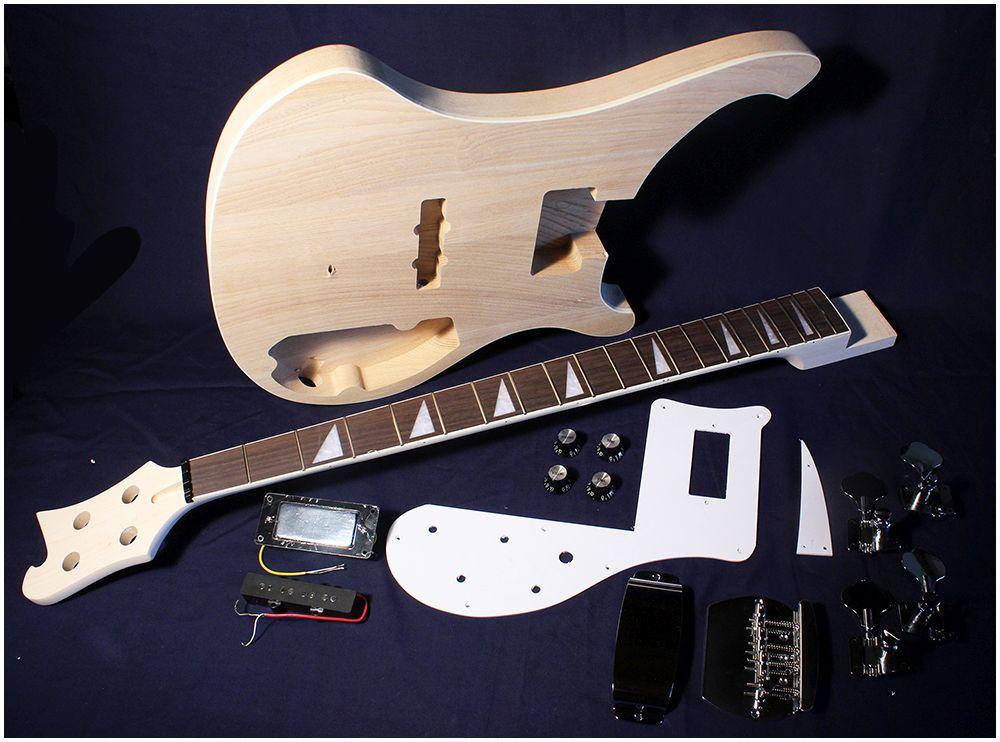 pit bull guitars rca 4 complete diy electric bass guitar kit ash body ebay. Black Bedroom Furniture Sets. Home Design Ideas