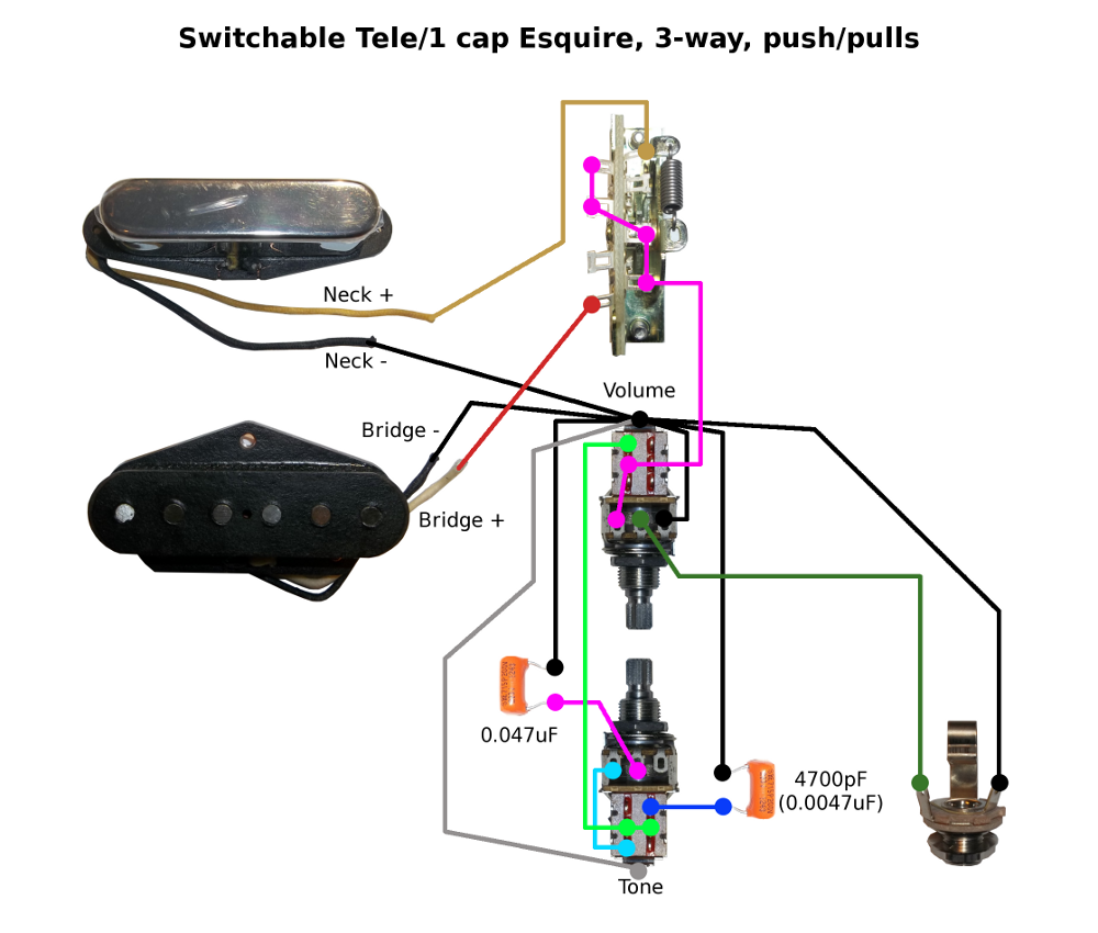 With Push Pull Tone Pot Wiring Diagram For Telecaster Library 4 Way Switch Tele Mod Any Position 1 Cap Esquire Requires