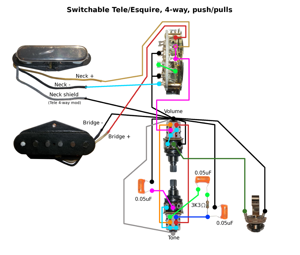 Switchable Tele Esquire Wiring Filter Cap Schematic Bridge Neck Series 4 Volume Up Only Down Tone Caps