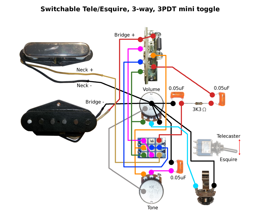 Telecaster Pickup Wiring Toggle Reveolution Of Diagram Without Capacitor Switchable Tele Esquire Rh Buildyourownguitar Com Au 3 Way Switch