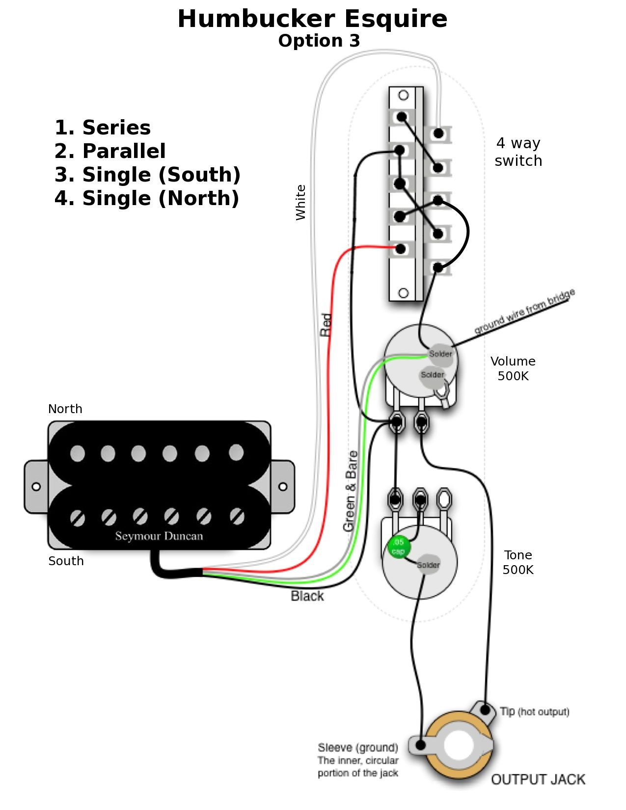 z243s esquire_hb_option_3 guitar wiring diagrams 1 hum 2 single guitar discover your fender esquire wiring diagram at edmiracle.co