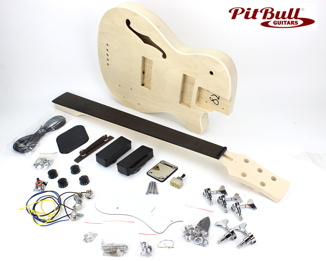 Pit Bull Guitars DHB-5 Semi-Hollow Electric Bass Guitar Kit (Fretless) –  Pit Bull Guitars | Hollow Body Bass Guitar Wiring Diagram |  | Pit Bull Guitars